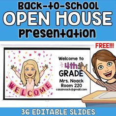 The free Bitmoji Back to School Open House Presentation is the perfect way to start planning for your meet the teacher night! Back To School Night, 1st Day Of School, Beginning Of School, Middle School, High School, Curriculum Night, 4th Grade Classroom, Classroom Teacher, Teacher Binder
