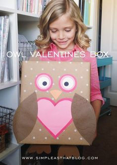 DIY Valentine Box via @rebeccacooper | Owl Valentine's Box | Valentine's Day Box