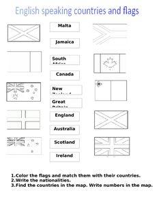 Výsledek obrázku pro worksheet nations and flags