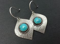 Silver Leaf Earrings, Sterling Silver Turquoise Earrings, Gemstone Earrings for Women, Turquoise Dangle Earrings, Turquoise Cabochon Bezel by ShadesofGrayDesigns on Etsy https://www.etsy.com/uk/listing/166004683/silver-leaf-earrings-sterling-silver