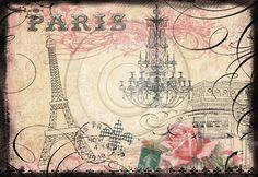 Pink Eiffel Tower Wallpaper | Parisian Eiffel Tower & Arc de Triumphe Digital Collage for notecards ...