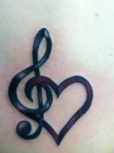 Pretty Music and Heart Shape Tattoo