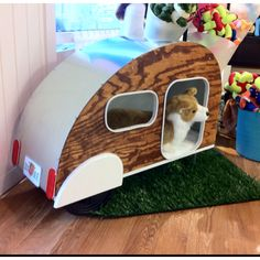 Trailer Dog House custom unique wooden cat or dog house bed. they have their own