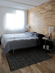 my own scandinavian style bedroom renovation. Enough ash/birch engineered wood flooring left to cover part of wall as a headboard. Very pleased with result. Scandinavian Style Bedroom, Scandinavian Interior Design, Engineered Wood Floors, Wood Flooring, Christmas Interiors, Birch, Ash, Living Room, Modern Christmas