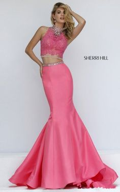 Sherri Hill 32348 Jeweled Coral Lace Mermaid Junior Sweet 16 Pageant Dress 2017