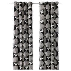 KAJSAMIA Curtains, 1 pair - black - IKEA  The curtains for the living room.