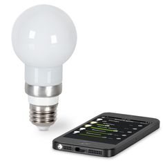 The iPhone Controlled Light Bulb - This is the LED light bulb that is controlled by an iPhone. A free app automatically connects to the light bulb via Bluetooth 4.0, allowing you to turn the light on or off and choose from 100 levels of brightness with the touch of the screen. - Hammacher Schlemmer