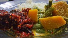 Nasi Campur (mixed rice: spicy fried tuna, pumpkin and long beans, rice and sambel)