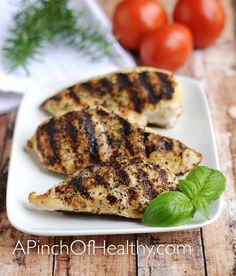 Grilled Chicken Breasts – Easy Grill Pan Method: Grill chicken on stovetop in grill pan over medium-high for 4 minutes on one side and 2 minutes on the other side.    Then transfer pan to oven at 350 for 20 minutes.