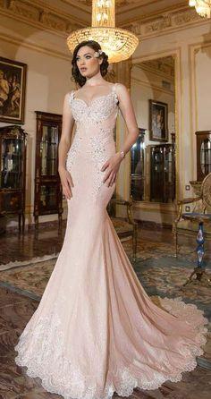 Glamorous jewel embellished blush fit-and-flare wedding dress; Featured Dress: Shabi & Israel