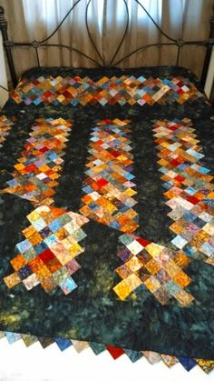 """My Cobblestone quilt variation from Debbie Caffrey's book """"Open a can of Worms""""."""