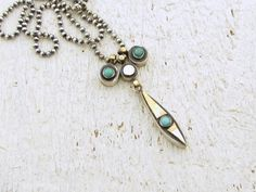 Turquoie Necklace - Sterling Silver & 14k Solid Gold Pendant Necklace on Etsy, $210.00