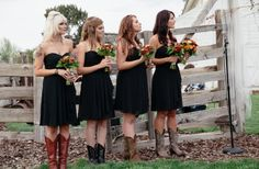 http://sweetvioletbride.com/2014/01/diy-fall-oregon-barn-wedding-captured-corrin/ DIY Fall Oregon Barn: Gorgeous fall wedding done completely by bride's family! Day full of country chic details including: rustic cupcake bar, handmade signs, s'mores kits for roasting by the fire, barn filled w/paper lanterns & stunning fall bouquet with rich fall hues of gold, peach, orange, burgundy, green, & black. Elegant black bridesmaids' dresses paired w/cowboy boots made for a classy-rustic affair.