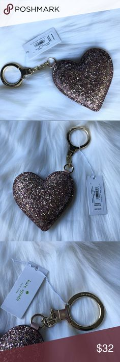 Kate spade Sparkling glitter heart key chain New with tag will comes with dust bag. kate spade Accessories Key & Card Holders
