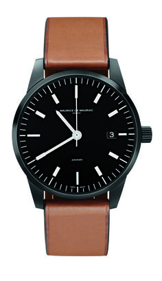 design by Fabian Schwaerzler Nomination Swiss Design Award 2019 Automatic Swiss movement stainless steel with black DLC coating Swiss Luxury Watches, Swiss Made Watches, Modern Watches, Fine Watches, Watches For Men, Mens Designer Watches, Beautiful Watches, Dark Brown Leather, Omega Watch