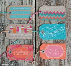 Lia Griffith designed a matching set of summer themed gift tags and wrapping paper, that would work well for those occasions coming up: Graduations, Bridal Showers, Father's Day and of course…