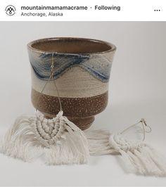 Share via Instagram @mountianmamamacrame Macrame Cord, Macrame Earrings, Macrame Projects, Fiber Art, Crafts For Kids, Candle Holders, Weaving, Mountain, Rock