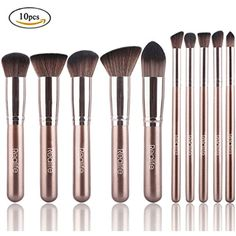 Kitdine Makeup Brushes,Premium Synthetic Kabuki Cosmetics Foundation Eyeliner Blush Contour Brushes for Makeup brush set (10 pcs, Coffee) * Visit the image link more details. (This is an affiliate link)