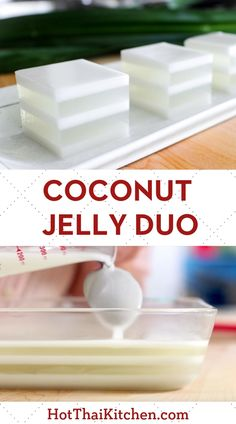 Coconut Jelly Duo วุ้นกะทิ Beautiful summer dessert recipe with layers of coconut water jelly alternating with coconut milk. It's a classic no-bake Thai dessert that is vegan, gluten free and delicious! Jelly Desserts, Asian Desserts, Chinese Desserts, Gelatin Recipes, Jelly Recipes, Coconut Jello, Thai Coconut Pudding Recipe, Coconut Milk Desserts, Recipes With Coconut Milk