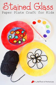 Beautiful Stained Glass Paper Plate Craft for Kids -