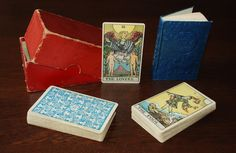 """Published by the William Rider & Son, Inc. company of London, this is a 1909 prototype tarot deck now known as the """"Roses & Lilies"""" deck. This preceded the mass-production (""""A"""") decks that were sold to the public in late March of 1910 by three months."""