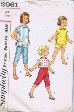 Girls Pedal Pushers Shirt SEWING PATTERN 2061 SIMPLICITY SZ 4 BUST 23 HIP 24 CUT