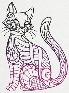 This light-stitching, mehndi-inspired kitty is ready to adorn pillows, scarves, shirts, and more.