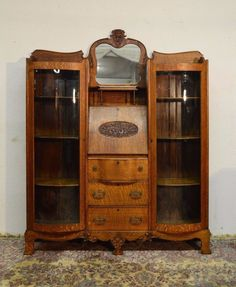 Antique Double Bowed Tiger Oak Secretary Bookcase Side by Side Cabinet China | eBay