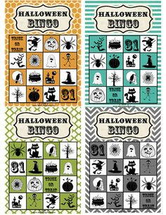 Free Printable: Halloween Bingo Cards  This will come in handy for halloween party's at school!