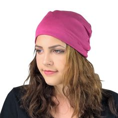 bffdd12eae0 BAMBOO Berry Pink--ADJUSTABLE DRAWSTRING Satin Lined Cap Model Look