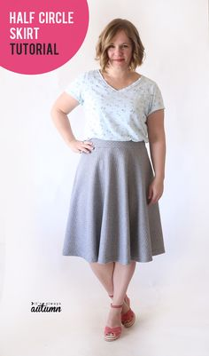 Easy half circle skirt sewing tutorial - no zippers, no buttons, just a cute, easy skirt! How to sew a half circle skirt. Sewing Basics, Sewing Hacks, Sewing Tutorials, Sewing Tips, Sewing Ideas, Sewing Lessons, Dress Tutorials, Sewing Patterns Free, Free Sewing