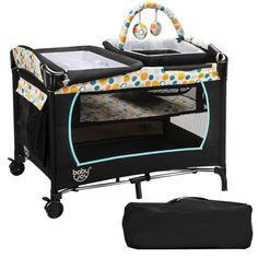 Serving to provide a comfortable and safe area for the baby, the portable baby playard features the diaper table, cradle, bassinet bed and activity center. This portable baby playard is a necessity for the new daddy and mother. With moving wheels, it's convenient to move from room to room. Covered with mesh cloth, the baby playard allows the parents to have a clear observation of the baby, which also helps to keep the baby cool and dry, good for air circulation.