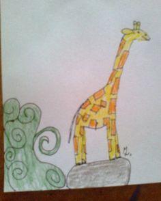 Žirafa - Kresba na dopisním papíře