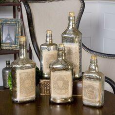SET OF FIVE VINTAGE STYLE MERCURY GLASS BOTTLES JARS Decor, Decorating Coffee Tables, Decoracion De İnteriores, Decorating Bookshelves, Decorative Pillows, Decorating With Plants, Decoracion De Salas Modernas, Decorated Jars. #decor #coffeetables #decoratingbookshelves #decoratedjars Recycled Glass Bottles, Painted Wine Bottles, Bottles And Jars, Decorative Bottles, Old Liquor Bottles, Mason Jars, Decorative Objects, Liquor Bottle Crafts, Recycled Decor