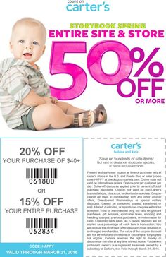 Pinned March 15th: Everything is 50% off + another 15-20% at #Carters or online via promo code HAPPY #coupon via The #Coupons App