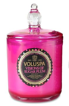 Free shipping and returns on Voluspa 'Maison Holiday - Visions of Sugar Plum' Decorative Candle at Nordstrom.com. The signature home collection by Voluspa gets a dazzling makeover this holiday with bright, colorful packaging that makes a statement, whether you're gifting it to a host or hostess or yourself. Each candle features a proprietary coconut wax blend with a cotton wick for a pure, clean burn.<br><br>Visions of Sugar Plum is filled with notes of tart white plum, dried cherry dusted ....