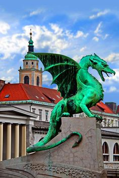 Dragon Bridge, Ljubljana, Slovenia- The dragon is the symbol of the city, based on the legend of St. George and the Dragon.