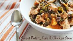 Sweet Potato, Kale & Chicken Stew via ahealthfulheart.com - an Indian inspired stew with aromatic flavors of garam massala, paprika and cumin.