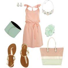 Peach  Mint, created by amyjoyful1 on Polyvore