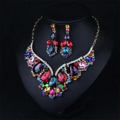 Hot 2016 New Austrian Crystal Jewelry Luxury 18K Gold Plated Colorful Wedding Bridal Jewelry Set Statement Necklace Earrings