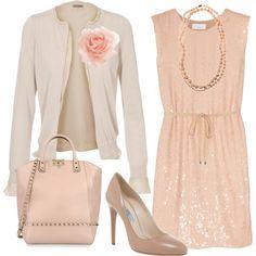Pink dress with cream cardigan