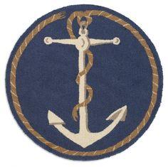 "Anchor Hooked Wool 32"" Rug"