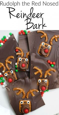 Rudolph the Red Nosed Reindeer Bark - Super easy Christmas treats, Rudolph the Red Nosed Reindeer Bark - Super easy Christmas treats. Christmas Recipes For Kids, Easy Christmas Treats, Christmas Sweets, Christmas Cooking, Christmas Goodies, Christmas Candy, Holiday Treats, Simple Christmas, Christmas Ideas