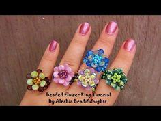 Beaded Flower Ring Tutorial - YouTube