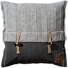 Kussen - Rib VZ lichtgrijs door Knit Factory www. Sewing Pillows, Diy Pillows, Decorative Pillows, Throw Pillows, Camping Pillows, Knitted Cushions, Scatter Cushions, Cushion Covers, Pillow Covers