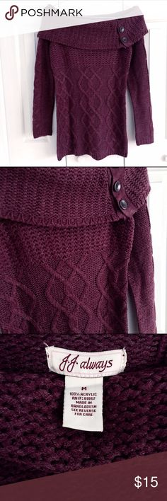 Wine Cable Knit Sweater Tunic with Wide Cowl Neck Beautiful cable knit details on this rich wine / burgundy colored long sweater. Cute large buttons over large cowl neck that can be worn off the shoulder. Great with a pair of leggings and boots! Perfect seasonal color. JJ Always Sweaters Cowl & Turtlenecks