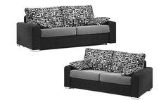 Sofa dos y tres plazas. Sofas tapizados en tela de colores combinados. Sofas de diseño moderno estilo retro.