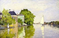 Houses on the Achterzaan Claude Monet Fecha: Zaandam, Netherlands Estilo: Impresionismo Género: paisaje urbano Monet Paintings, Impressionist Paintings, Landscape Paintings, Renoir, Monet Poster, Ciel Art, Claude Monet House, Camille Pissarro, Sky Art