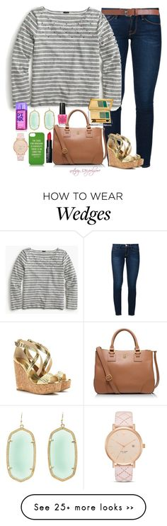 """Stripes and Wedges"" by nutmeg-326 on Polyvore featuring Frame Denim, Maison Boinet, J.Crew, Kate Spade, Tory Burch, Bobbi Brown Cosmetics, Kendra Scott, Jimmy Choo, Estée Lauder and Victoria's Secret"