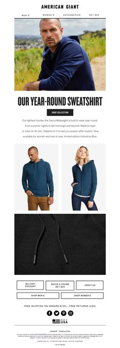 american_giant1 American Giant, Email Design Inspiration, Email Newsletters, Women's Accessories, Sweatshirts, Women Accessories, Trainers, Sweatshirt, Sweater